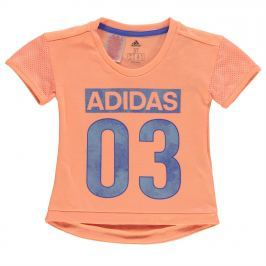 adidas LK Favourite T Shirt Child Girls, Orange/Blue, 104