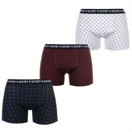 Soviet Patterned Pack of 3 Boxers, Burgundy, S
